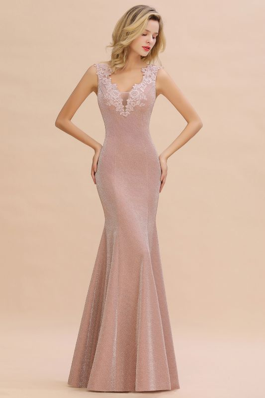 Sparkly Deep V-neck Long Evening Dresses | Elegant Flowers Neck Sleeveless Pink Floor-length Formal Dress
