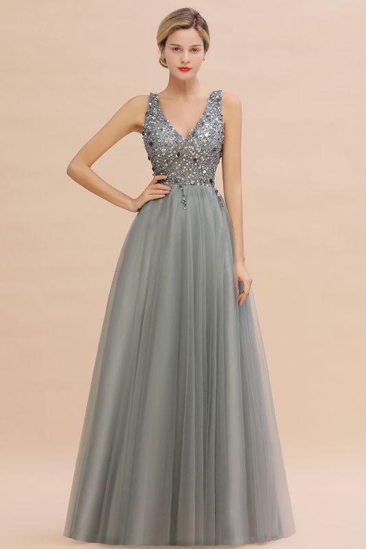 Abina | Sexy V-neck Sparkly Beaded Low Back Prom Dress with Gemstones