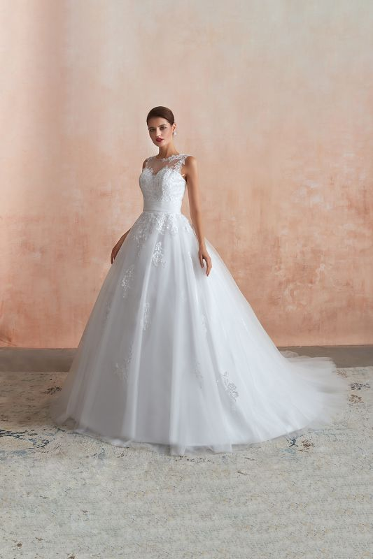 Hot Lace Ball Gown Wedding Dresses Jewel Sleeveless Button
