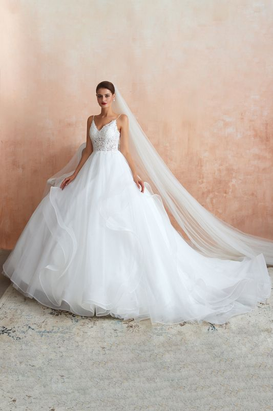 A Line Spaghettis Straps Tulle Wedding Dresses Lace Up Back