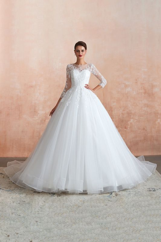 Hot Ball Gown Jewel 3/4 Sleeves Lace Wedding Dresses Button Back