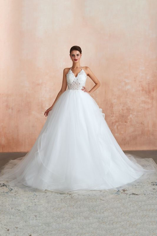 Sexy Ball Gowns Lace Tulle Backless Halter Wedding Gowns