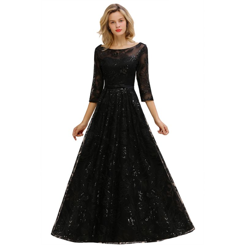 Scoop neck Long Sleeves Black Prom Dresses with Sparkly Floral Designs