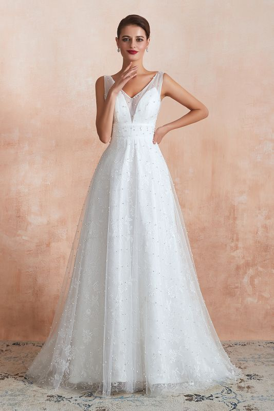 A Line Floor Length Tulle V Neck Pearls Bridal Dresses