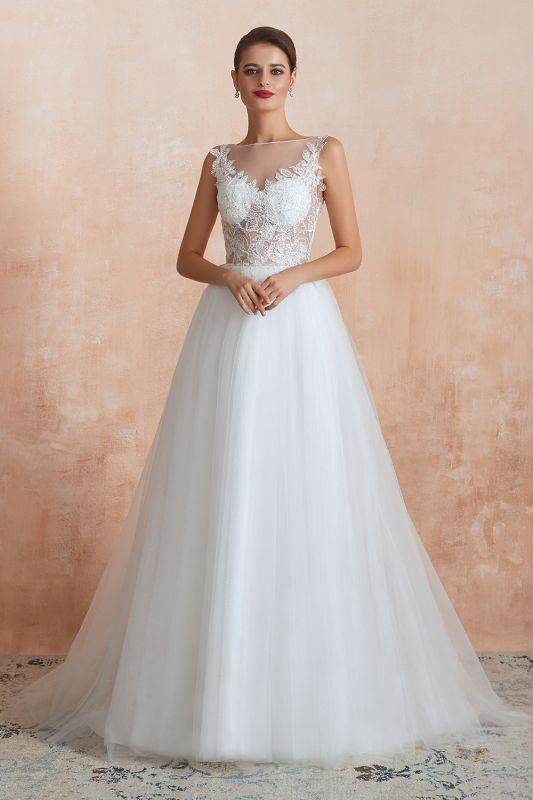 A Line Sleeveless Tulle Lace Jewel Bridal Dresses Button Back