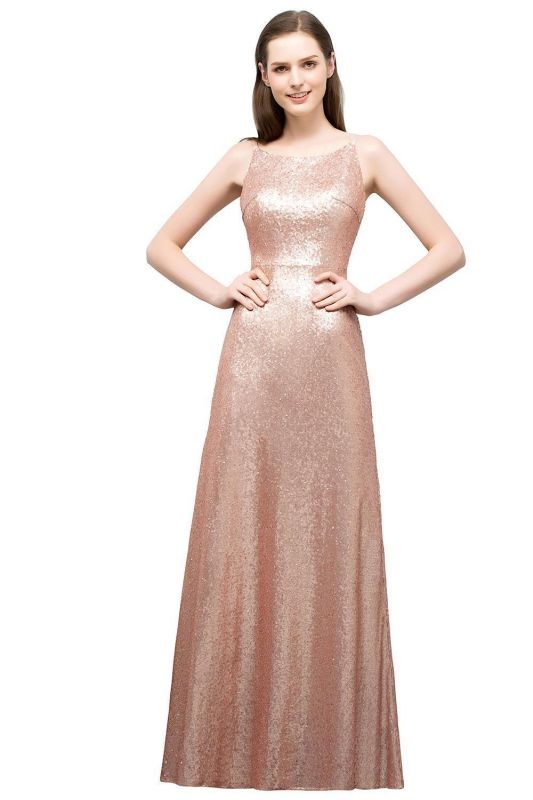 A-line Scoop Sleeveless Floor Length Sequined Prom Dresses