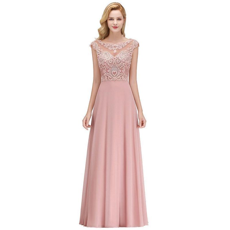 Cheap A-line Bridesmaid Dress Tulle Lace with Pearls