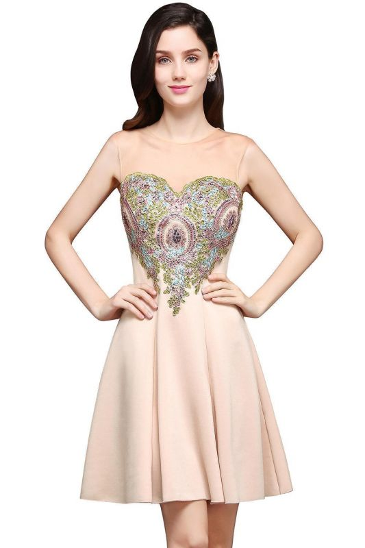A-line Scoop Chiffon Short Homecoming Dress With Appliques