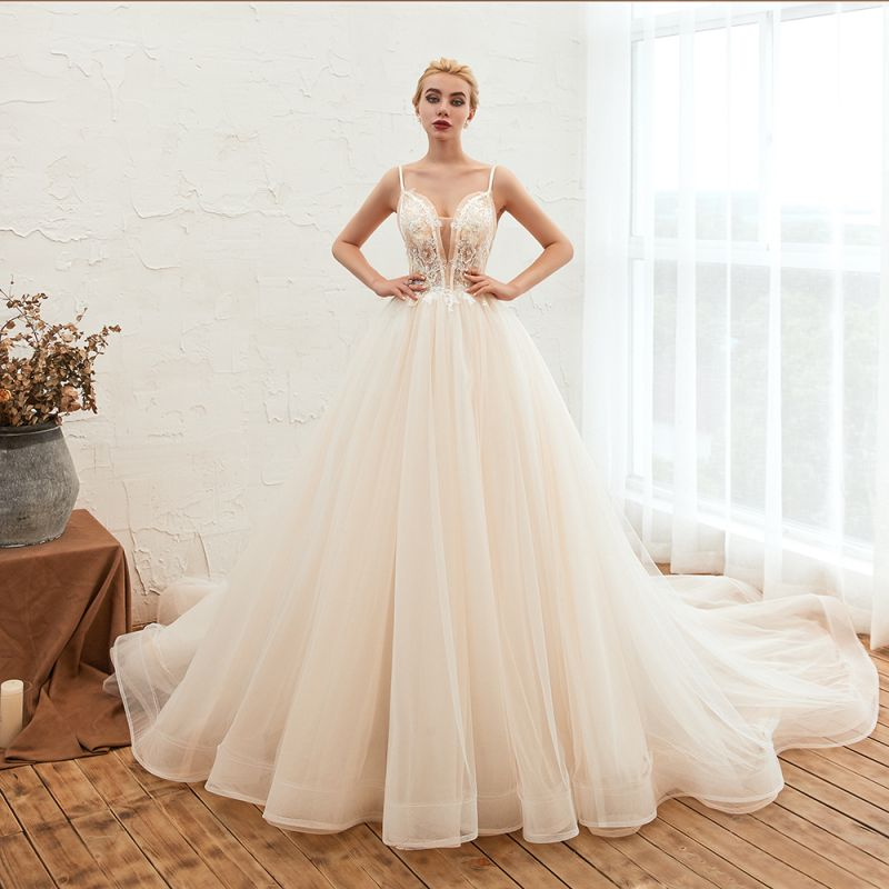 Sexy Sleeveless V Neck Tulle Ball Gown Wedding Dresses with Zipple