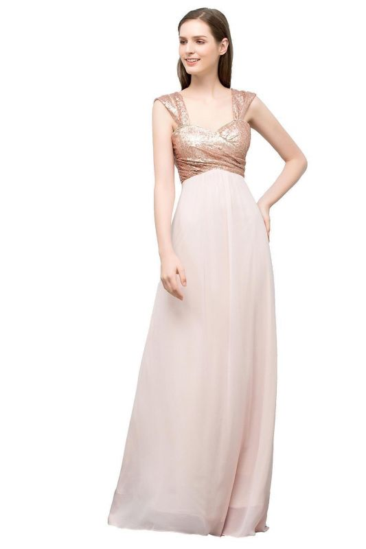JOSEPHINE | A-line Sweetheart Off-shoulder Spaghetti Long Sequins Chiffon Prom Dresses