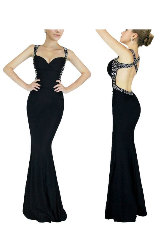 Criss-cross Back Mermaid Prom Dress with Beaded Straps