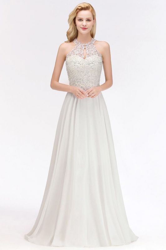 A-line Pink Pears Beaded Halter Bridesmaid Dresses