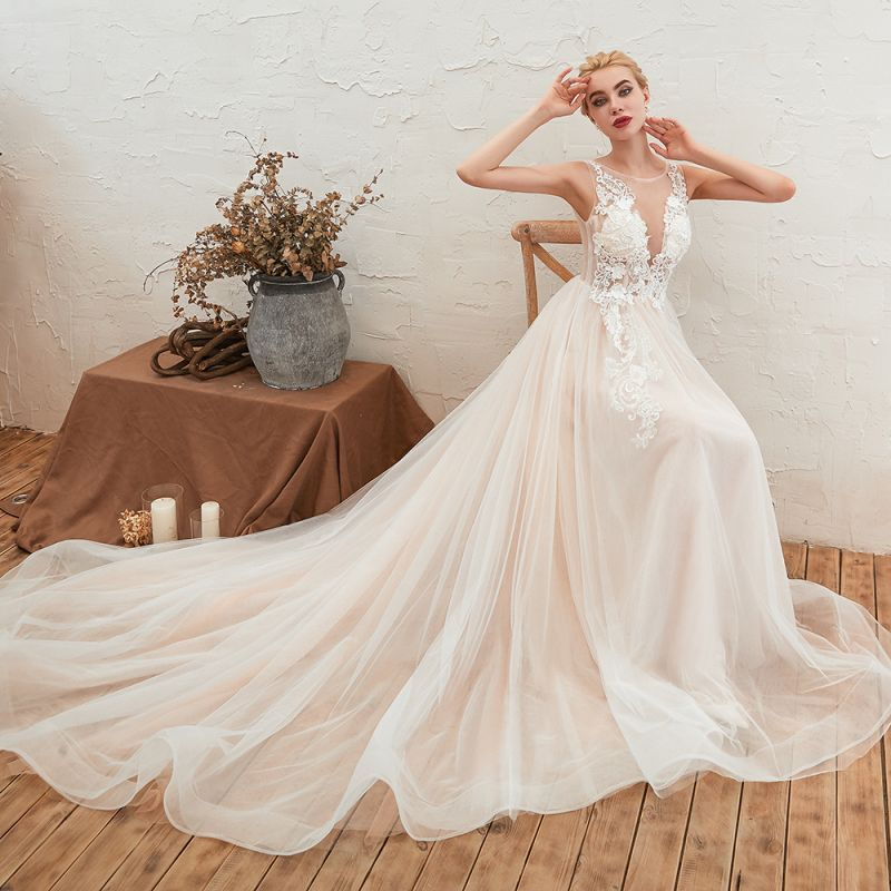 Sexy Sheath Sleeveless Tulle Lace Bridal Gowns lace Up