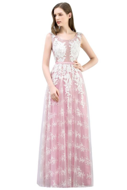 A-line Sleeveless Floor Length Tulle Appliqued Prom Dresses with Sash