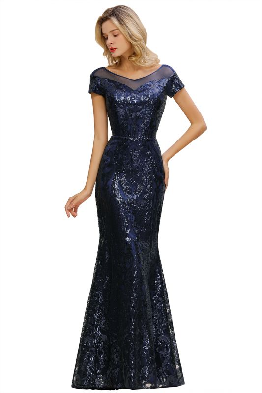 Long Sequined Cap sleeves Scoop neck Formal dress for Prom