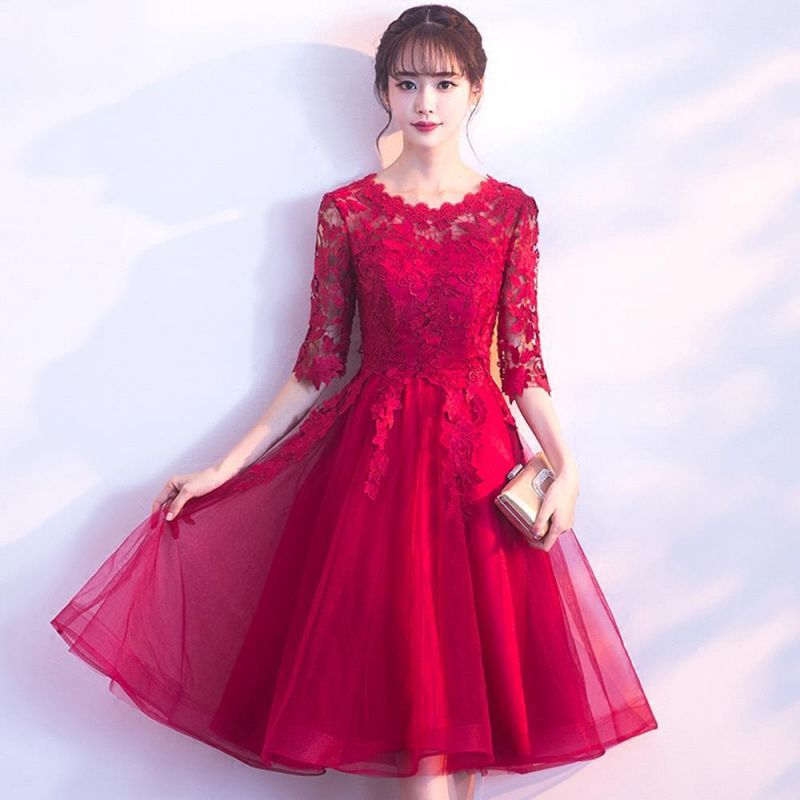 A-line Half sleeves Short Burgundy Appliques Tulle Homecoming Dresses