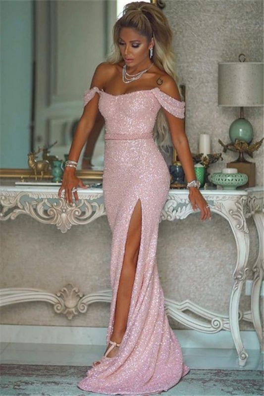 Off The Shoulder Sexy Sequins Pink Prom Dresses