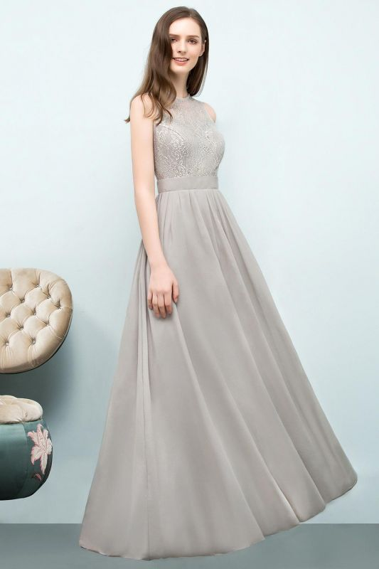 A-line Sleeveless Long Lace Top Chiffon Bridesmaid Dresses