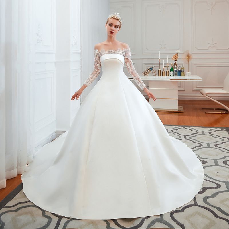 A line Off the Shoulder Lace Up Long Sleeves Wedding Dresses