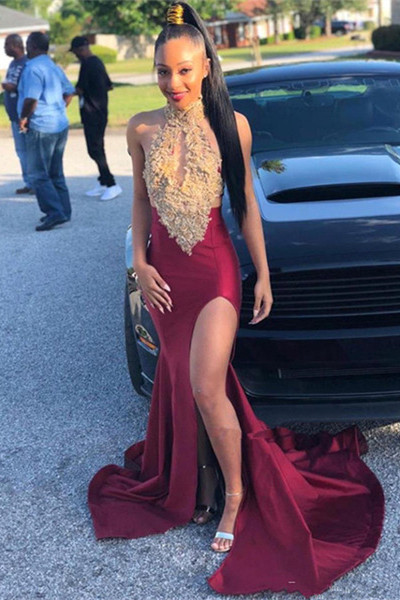 Sleeveless Halter Golden Burgundy Mermaid Prom Dresses