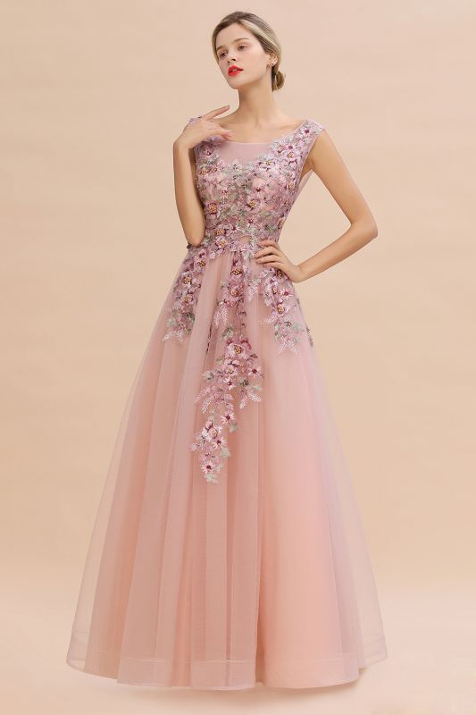 Gorgeous Dusty Pink Tulle Prom Dress Long With Lace Appliques