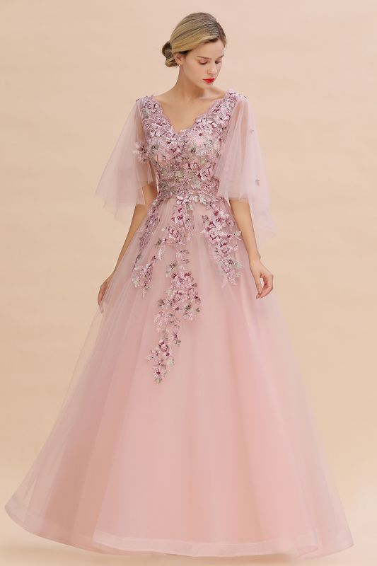 Chic Dusty Pink Tulle Prom Dress Long Short Sleeve Evening Gowns Online