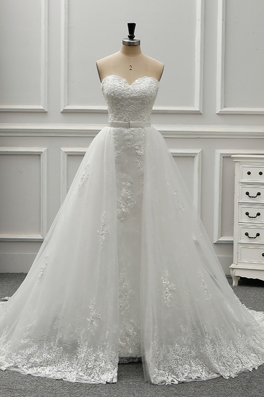 A-Line Strapless Sweetheart Tulle Bridal Gowns On Sale