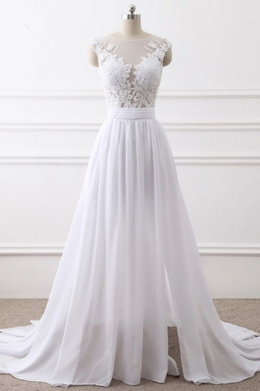 A-Line Sleeveless lace Bridal Gowns with Slit