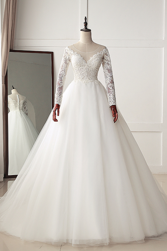 A-Line Long Sleeves Tulle Lace White Wedding Dresses