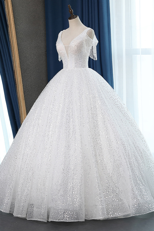 White Tulle Ball Gown Cold-Shoulder V-Neck Bridal Gowns Sequins