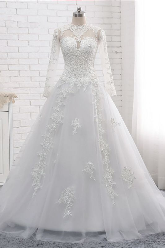 White Long Sleeves Tulle Lace Wedding Dresses