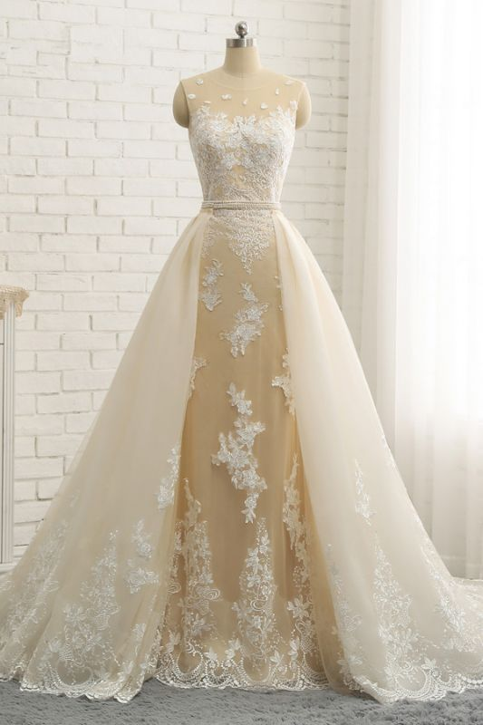 Jewel Tulle Sleeveless Overskirt Champagne Wedding Dresses