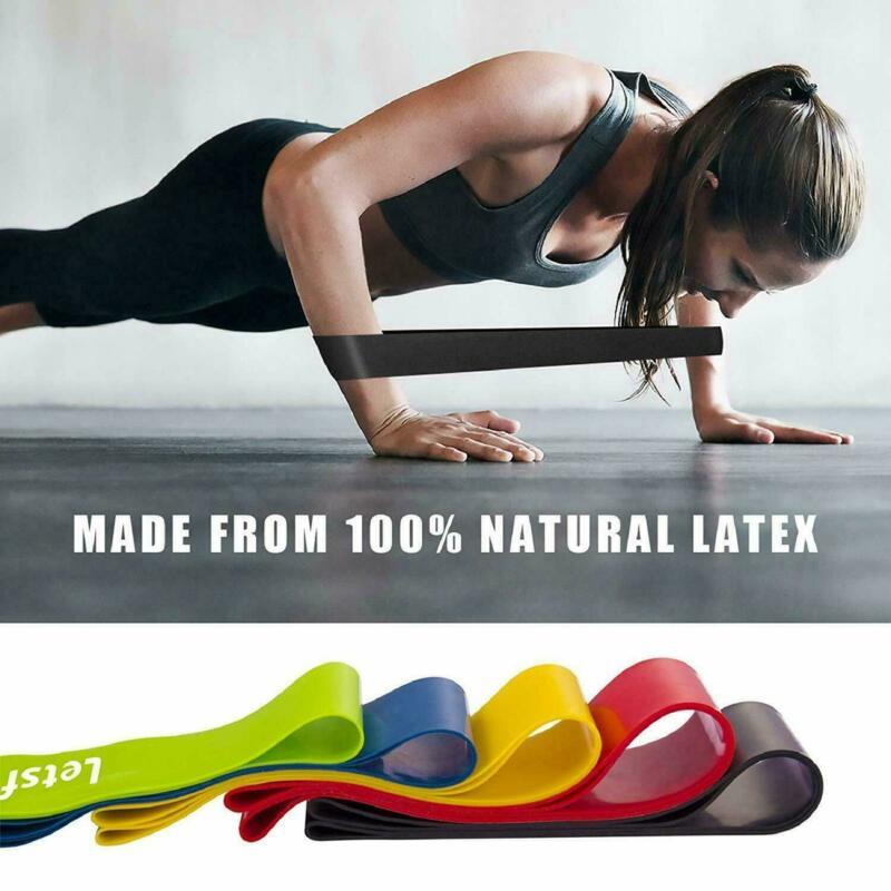 5 PCS Per Set with Bag Elastic Yoga Stripes Rubber Resistance Assist Band Gym Equipment Exercise Band Workout Pull Rope Stretch Cross Training