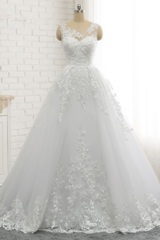 A-Line Sleeveless Appliques Tulle Lace Wedding Dresses