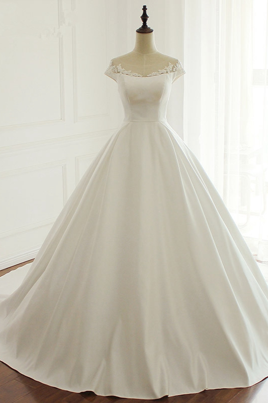 Simple A-Line Satin Jewel Ruffle Tulle Lace Wedding Dresses