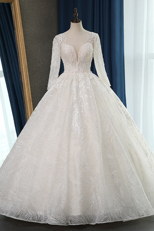 Long Sleeves Jewel Appliques Ball Gown Wedding Dresses