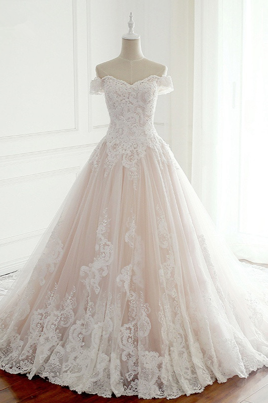 Off-the-Shoulder Appliques Sleeveless Tulle Lace Wedding Dresses