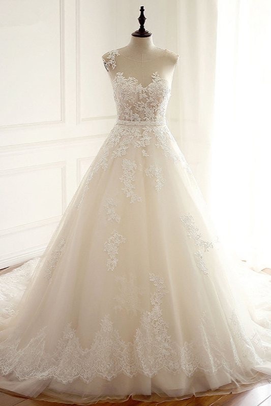 A-Line Tulle Ivory Appliques Sleeveless Bridal Gowns