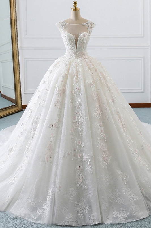Ball Gown Lace Sleeveless Tulle Wedding Dresses