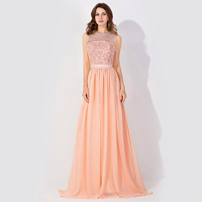 Cheap A-line Chiffon Bridesmaid Dress Tulle Lace Ruffles in Stock