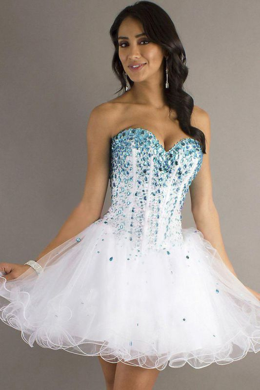 A Line Short Lace Sweetheart Organza Homecoming dresses