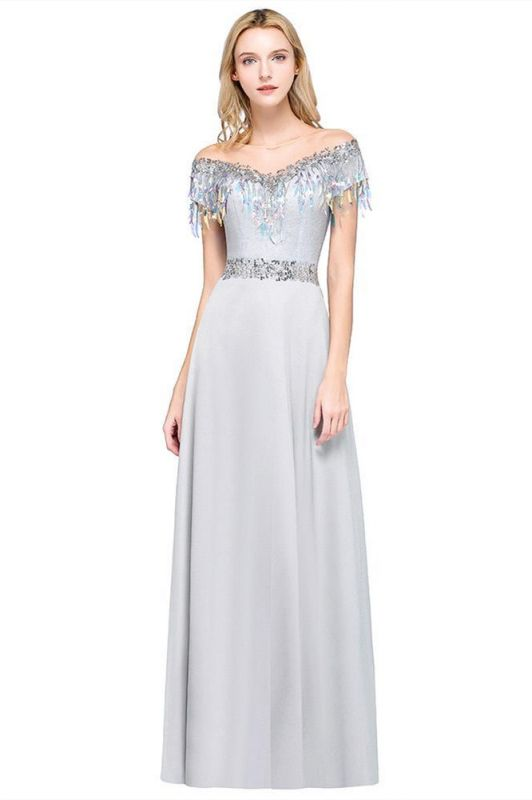 A-line Jewel Short Sleeves Sequins Evening Dress with Tassels On Sale