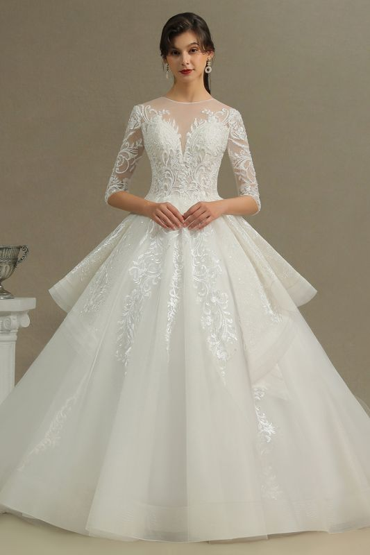 Luxury Floral Lace Bridal Gown Crew Neck Long Sleeves Aline Spring Garden Ball Gown