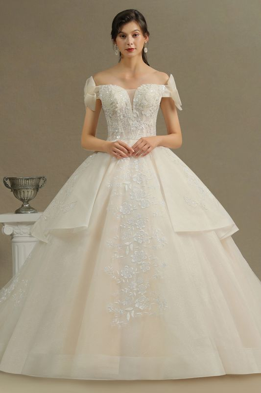 Elegant Off-the-Shoulder Tulle Lace Ball Gown Floor Length Graden Bridal Gown