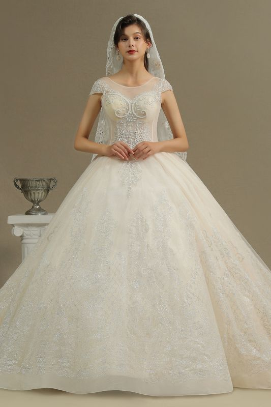 Cap Sleeve Aline Cathedral wedding dress Tulle Lace Appliques Garden Bridal Gown