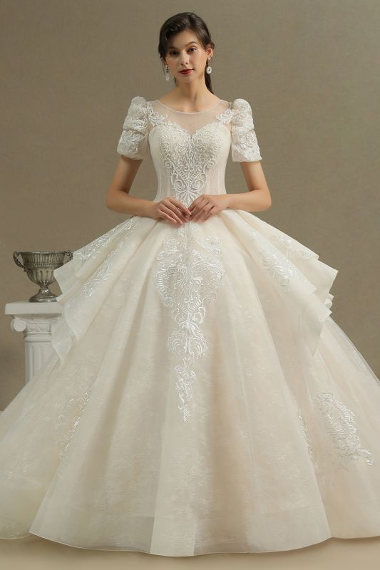 Charming Short Sleeve Garden Bridal Gown Sweetheart Wedding Dress Sweep Train