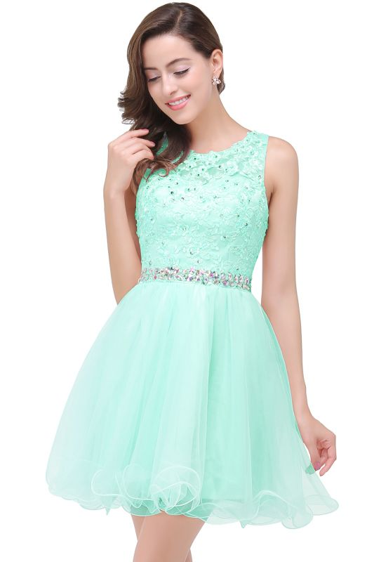 ABBY | A-line Knee-length Tulle Prom Dress with Appliques&Crystal