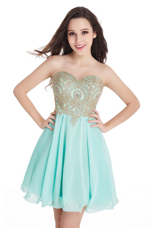 CYNTHIA | A-Line Strapless Short Chiffon Prom Dresses with Beadings