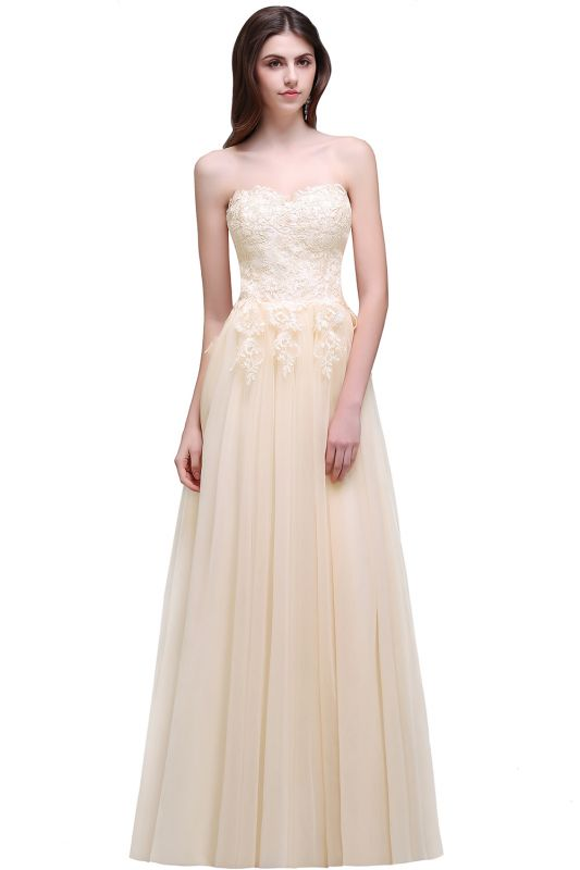 AUBRIANNA | Aline Floor Length Tulle Prom Dress With Appliques