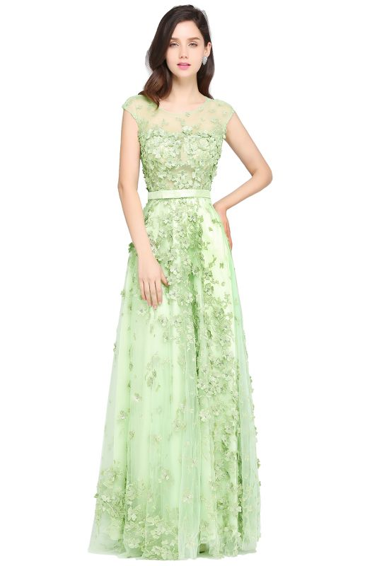 A-line Floor Length Tulle Green Prom Dresses with Appliques